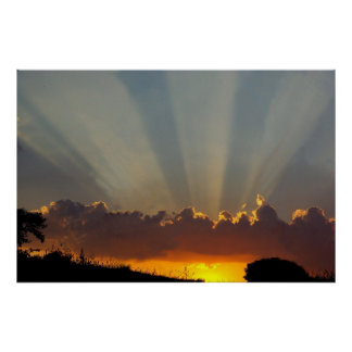 Sunbeams in the clouds. poster