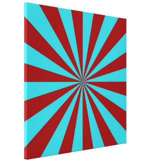 Sunbeams in Turquoise and Red Canvas Print
