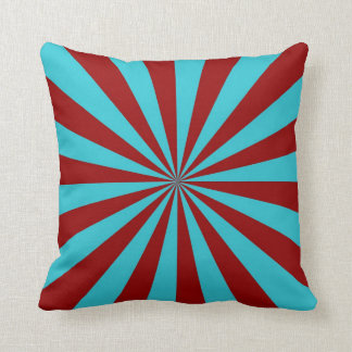 Sunbeams in Turquoise and Red Pillows