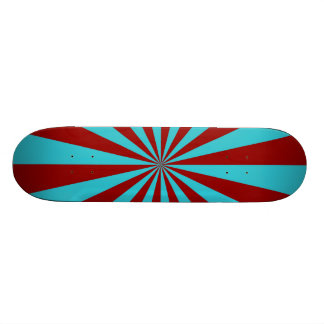 Sunbeams in Turquoise and Red Skateboard