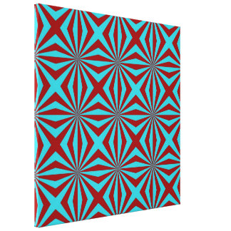 Sunbeams in Turquoise and Red tiled Canvas Print