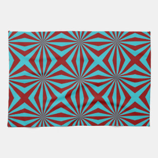 Sunbeams in Turquoise and Red tiled Towels