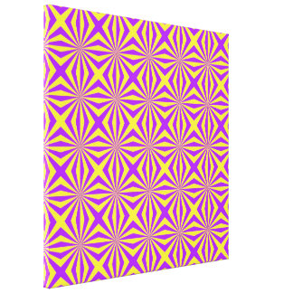 Sunbeams in Violet and Yellow Tiled Canvas Print