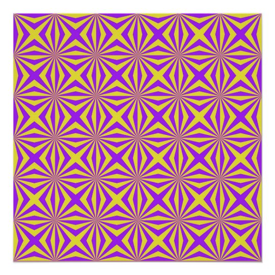 Sunbeams in Violet and Yellow Tiled Poster