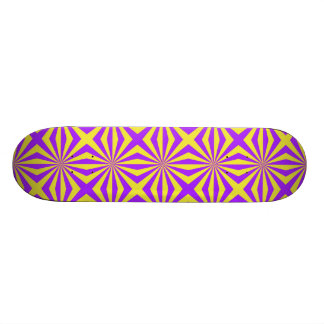 Sunbeams in Violet and Yellow Tiled Skateboard