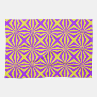 Sunbeams in Violet and Yellow Tiled Towels