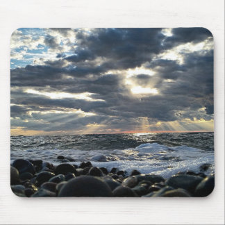 Sunbeams on a Rocky Shore Mouse Pad