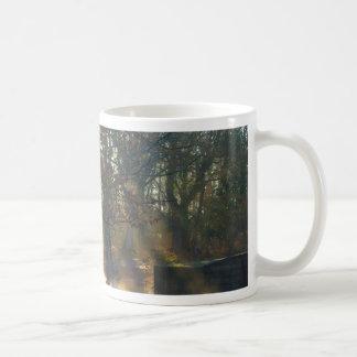 Sunbeams on misty river mug