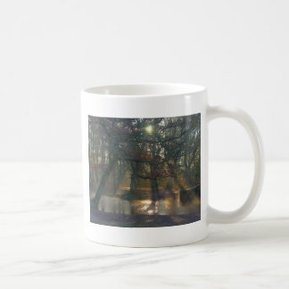 Sunbeams on misty river coffee mugs