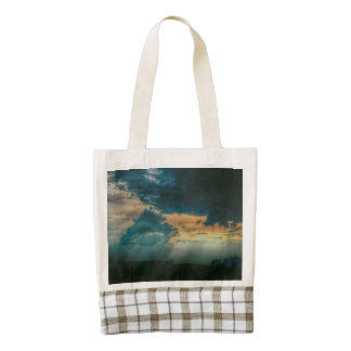 Sunbeams through the clouds zazzle HEART tote bag