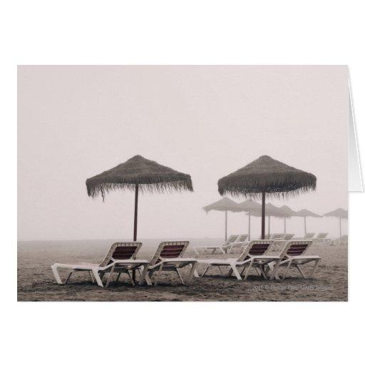 Sunbeds And Umbrella On Playamar Beach Card