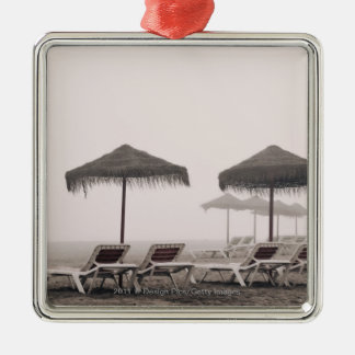 Sunbeds And Umbrella On Playamar Beach Christmas Tree Ornaments