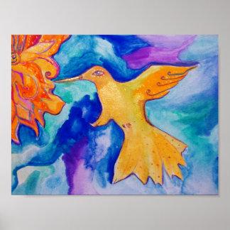 Sunbird Modern Watercolor Fine Art Painting Poster