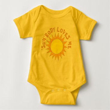 SUNBody Somebody Loves Me Yellow Sun Sunshine Rays Baby Bodysuit