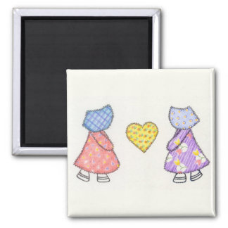 Sunbonnet Sue Quilting Motif Drawing Fridge Magnet
