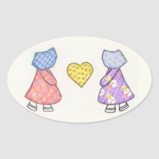 Sunbonnet Sue Quilting Motif Drawing Oval Sticker