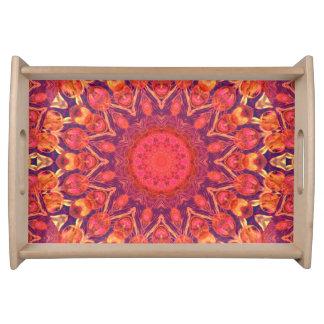 Sunburst, Abstract Mandala Star Circle Dance Serving Platter
