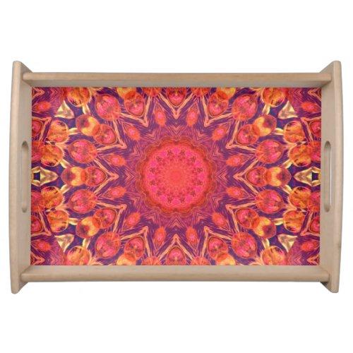 Sunburst, Abstract Mandala Star Circle Dance Serving Tray