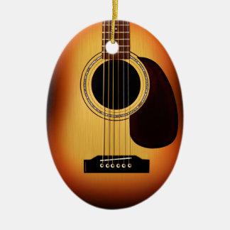 Sunburst Acoustic Guitar Double-Sided Oval Ceramic Christmas Ornament