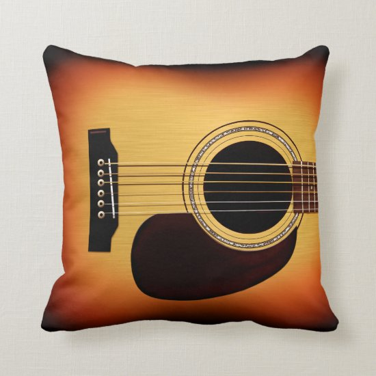 Sunburst Acoustic Guitar Throw Pillow