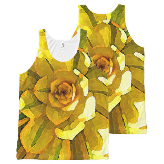 Sunburst Aeonium Succulent Square by Amy Vangsgard All-Over Print Tank Top