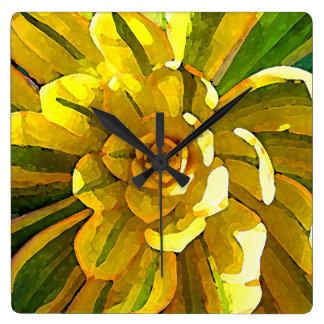 Sunburst Aeonium Succulent Square by Amy Vangsgard Square Wall Clock