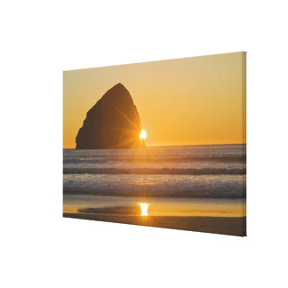 Sunburst And Haystack Rock At Cape Kiwanda Gallery Wrapped Canvas