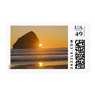 Sunburst And Haystack Rock At Cape Kiwanda Stamp