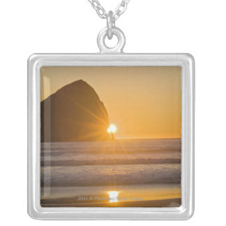 Sunburst And Haystack Rock At Cape Kiwanda Silver Plated Necklace