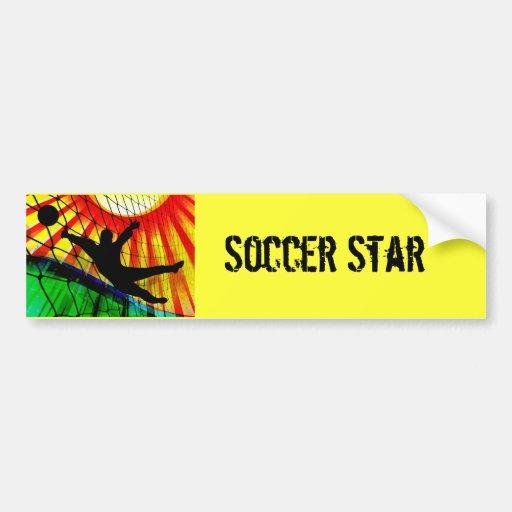 Sunburst and Net Soccer Goalie Bumper Sticker