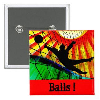 Sunburst and Net Soccer Goalie Button