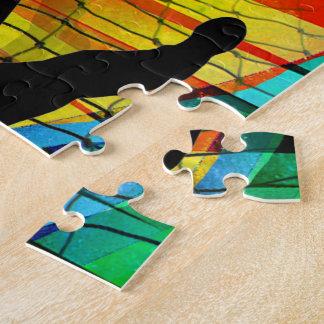 Sunburst and Net Soccer Goalie Jigsaw Puzzle