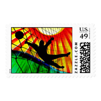 Sunburst and Net Soccer Goalie Postage Stamp