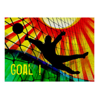Sunburst and Net Soccer Goalie Poster