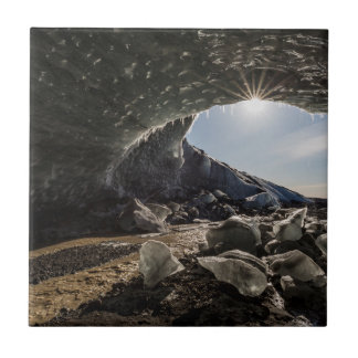 Sunburst at ice cave entrance ceramic tile