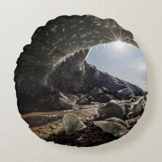 Sunburst at ice cave entrance round pillow