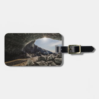 Sunburst at ice cave entrance tag for luggage