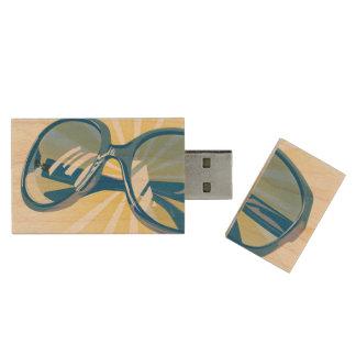 Sunburst Blue Eyeglasses - USB Thumb Drive Wood USB 2.0 Flash Drive