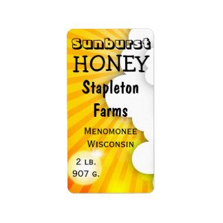 Sunburst Brand Honey Jar Personalized Label