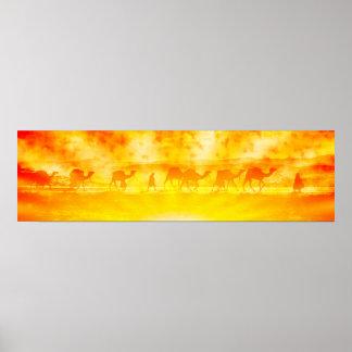 Sunburst Camel Caravan Poster