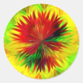 Sunburst Dahlia Classic Round Sticker