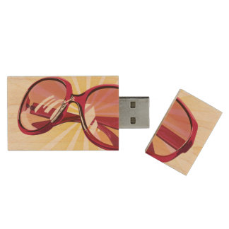 Sunburst & Dark Pink Eyeglasses - USB Thumb Drive Wood USB 2.0 Flash Drive
