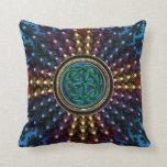 Sunburst Fractal Mandala with Celtic Knot Throw Pillow