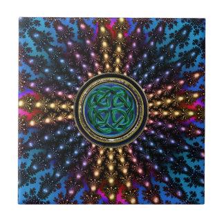 Sunburst Fractal Mandala with Celtic Knot Tile
