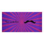 Sunburst glitter mustache custom photo card