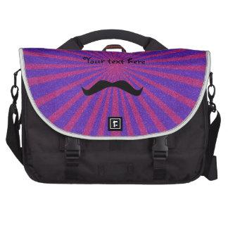 Sunburst glitter mustache laptop messenger bag