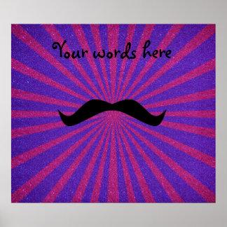 Sunburst glitter mustache posters