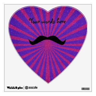 Sunburst glitter mustache wall graphics