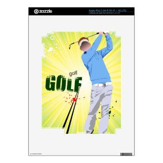 Sunburst golfer design for e reader iPad 3 skin