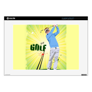 "Sunburst golfer laptop skin. decal for 15"" laptop"